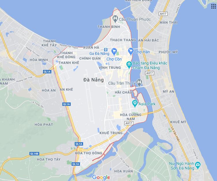 hình ảnh vệ tinh Tp Đà Nẵng