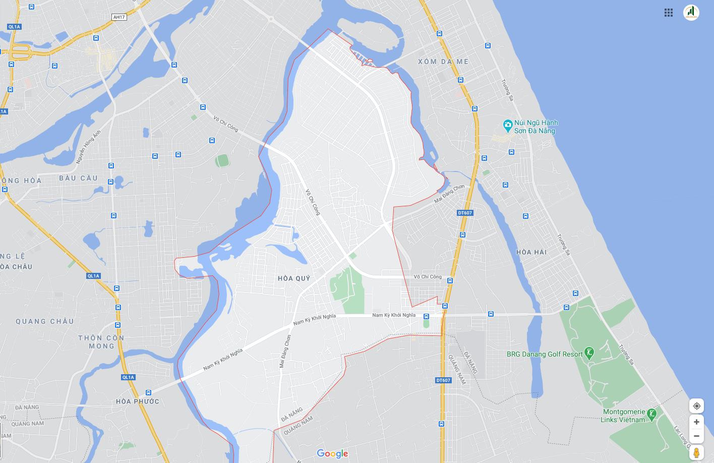 sơ đồ vị trí đất Hòa Qúy