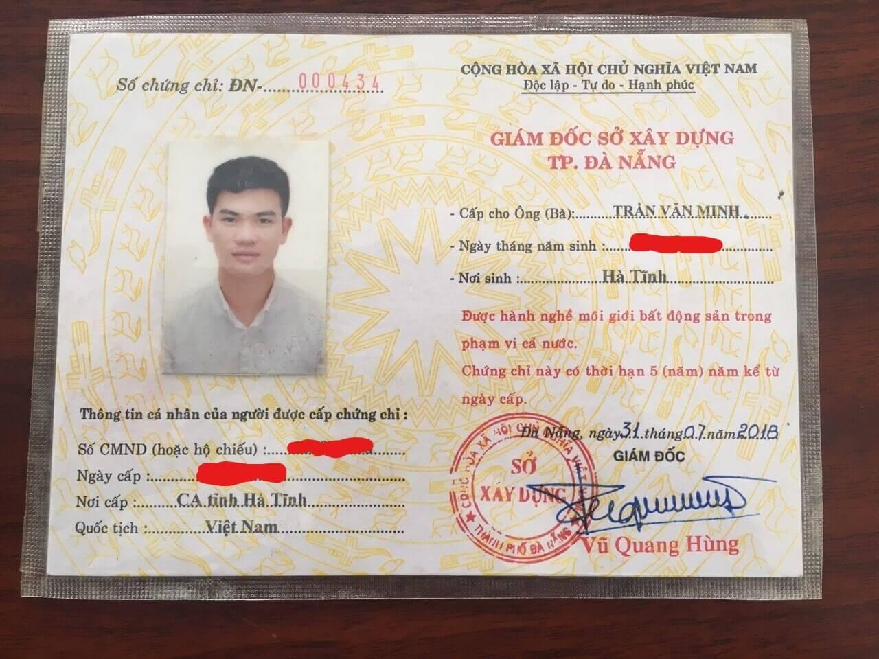 Trần Minh BĐS - Chứng chỉ hành nghề môi giới BĐS