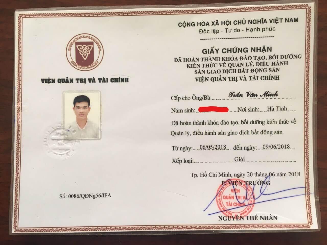 Trần Minh BĐS - Chứng nhận quản lý điều hành sàn