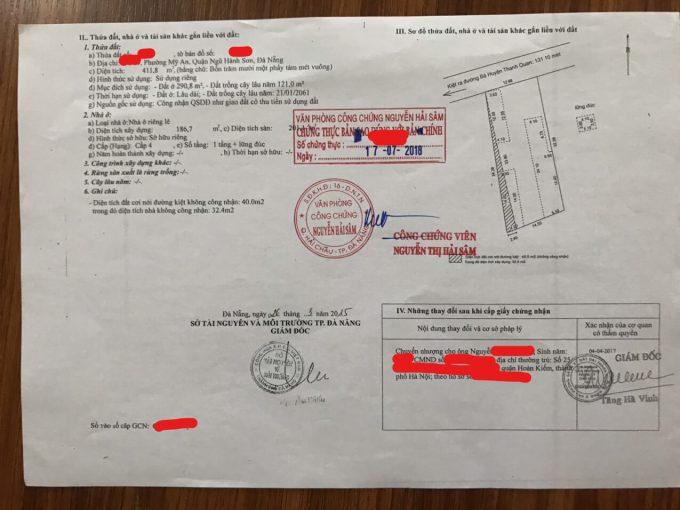 bán đất kiệt đường Bà Huyện Thanh Quan - Ngũ Hành Sơn - Đà Nẵng