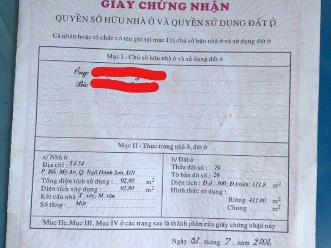 giấy chứng nhận quyền sử dụng đất đường Bà Huyện Thanh Quan
