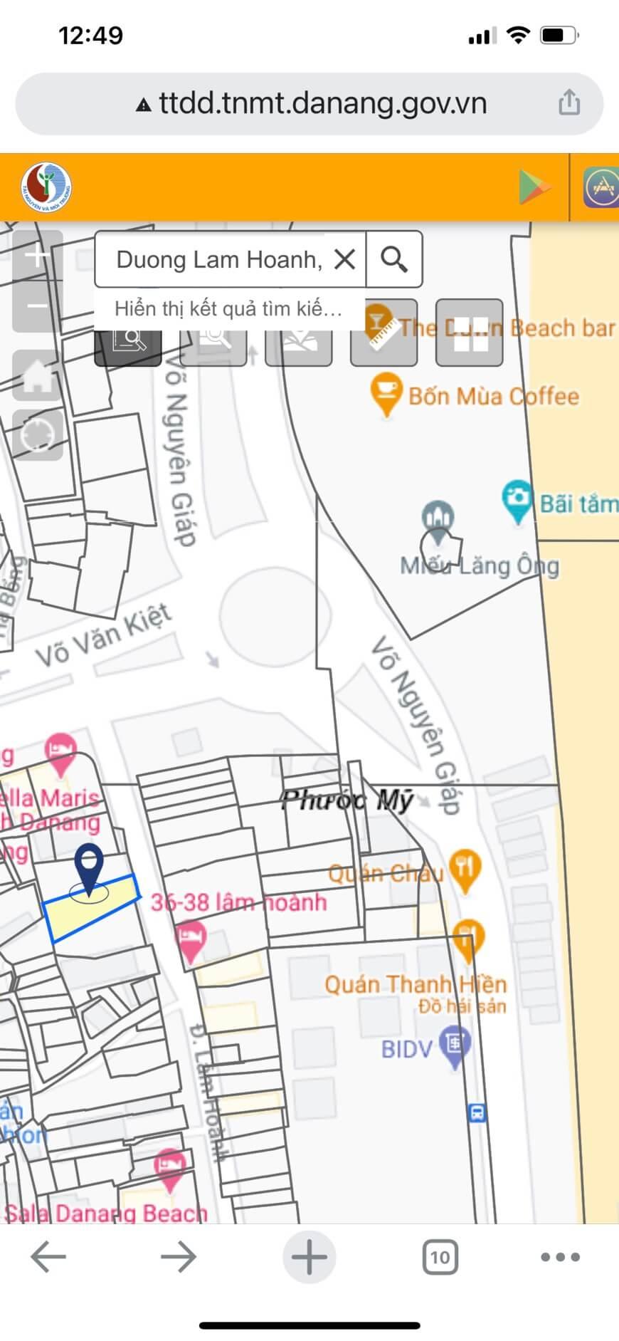 sơ đồ đất bán đường Lâm Hoành - Sơn Trà - Đà Nẵng