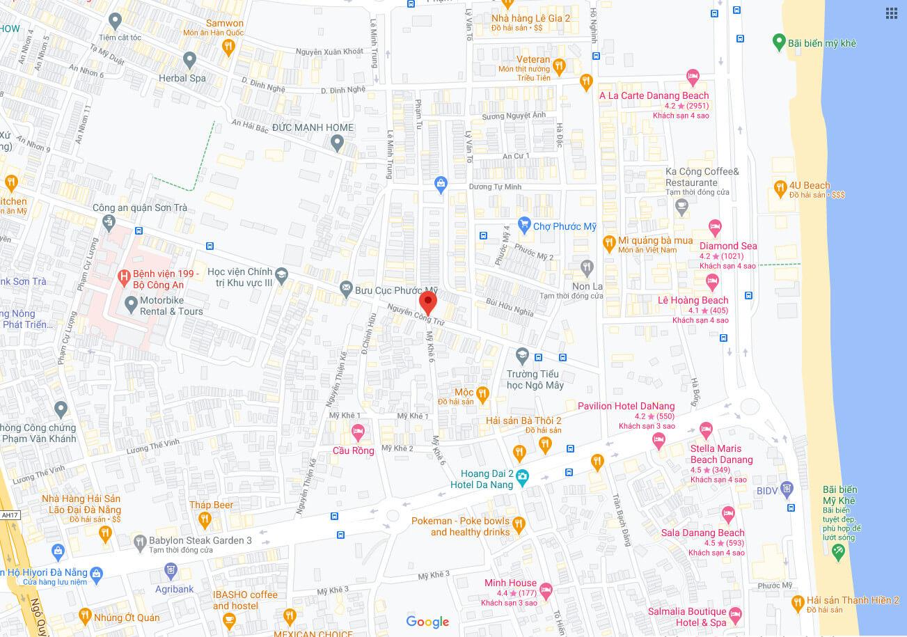 sơ đồ vị trí đất nền bán kiệt Nguyễn Công Trứ - Sơn Trà - Đà Nẵng