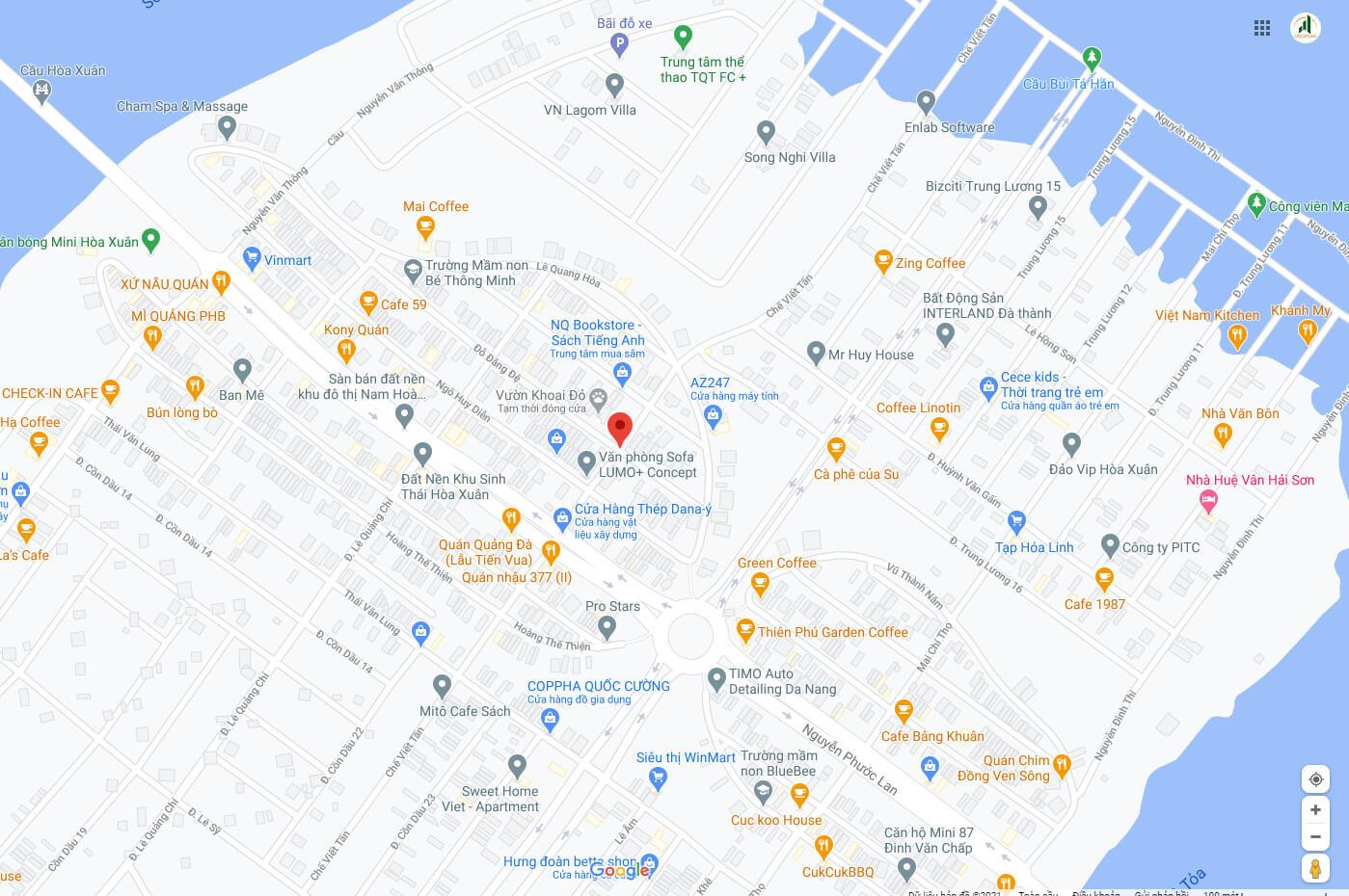 sơ đồ vị trí đất nền đường Chế Viết Tấn - Hòa Xuân - Cẩm Lệ - Đà Nẵng