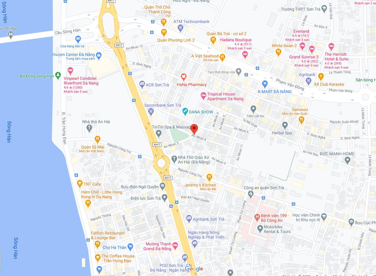 sơ đồ vị trí đường An Nhơn 8 - Sơn Trà - Đà Nẵng