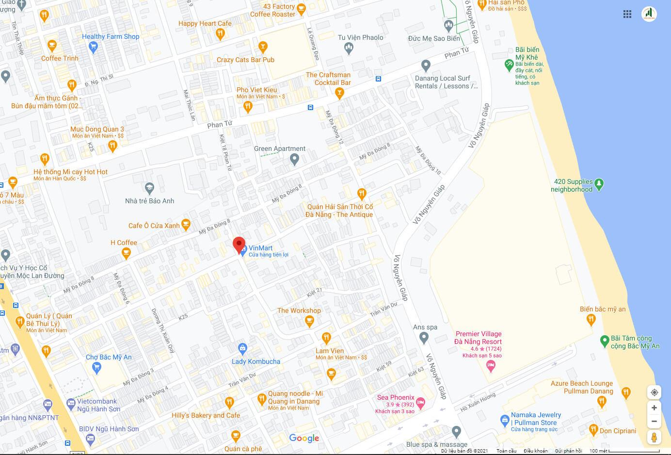 sơ đồ vị trí đường Bà Huyện Thanh Quan - Ngũ Hành Sơn - Đà Nẵng