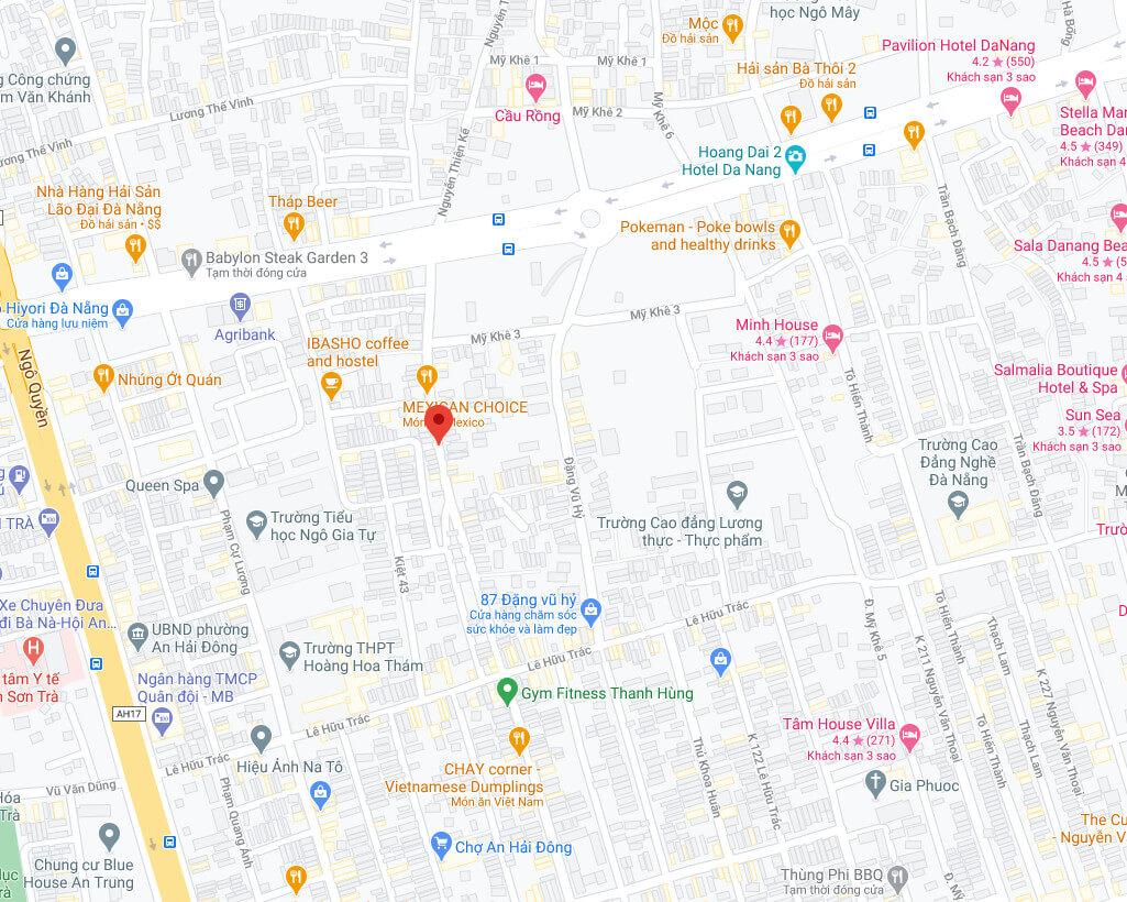 sơ đồ vị trí homstay kiệt Nguyễn Thiện Kế - Đà Nẵng