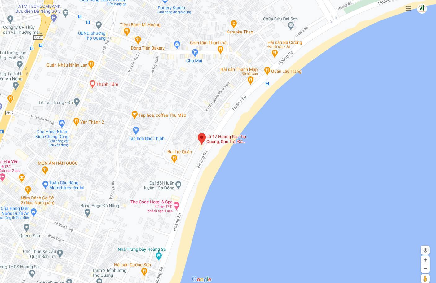 sơ đồ vị trí lô đất đường Hoàng Sa - Đà Nẵng