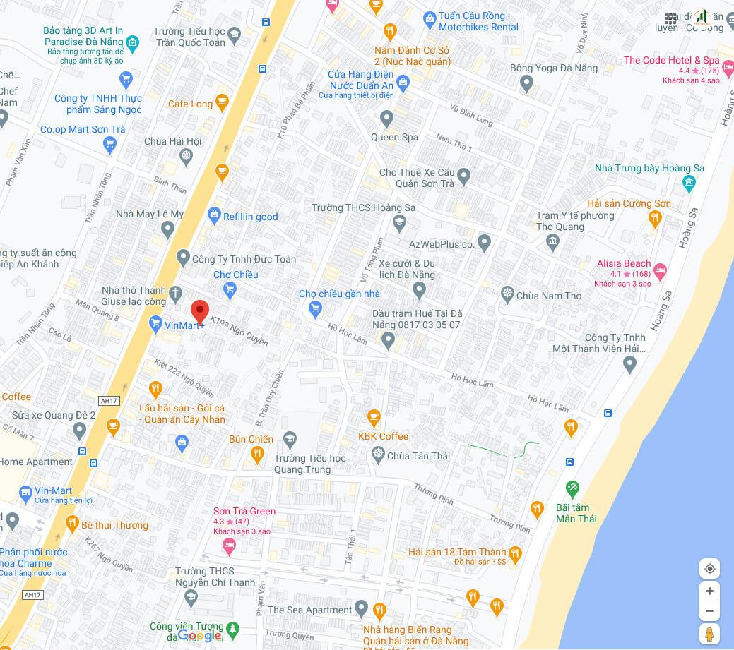 sơ đồ vị trí nhà kiệt Ngô Quyền - Sơn Trà - Đà Nẵng