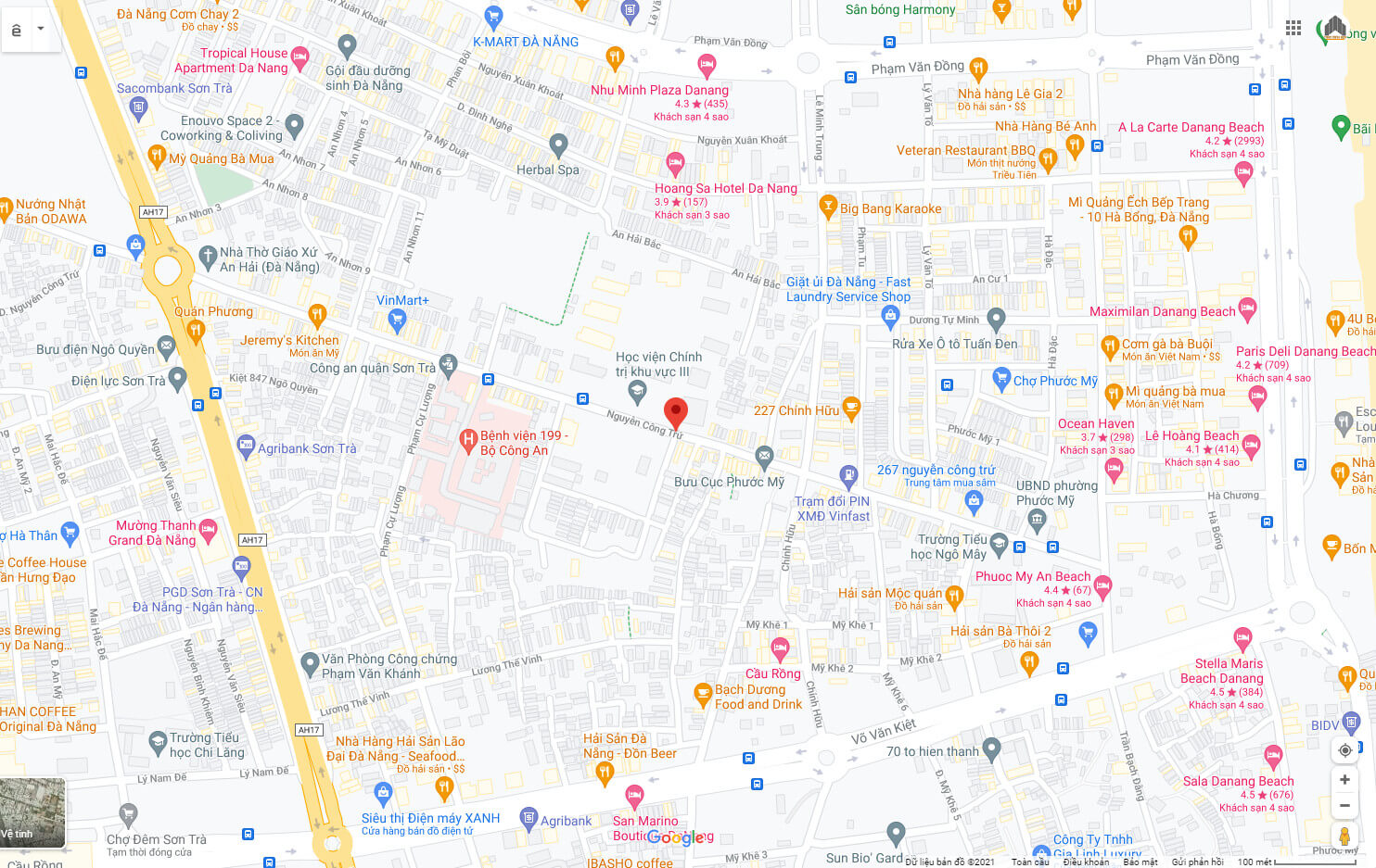 sơ đồ vị trí nhà bán đường Nguyễn Công Trứ - Sơn Trà - Đà Nẵng